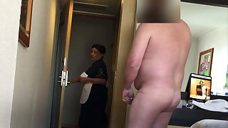 Fat man flashes his dick to a catch hotel maid