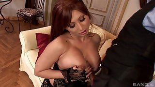 Busty mature pornstar Selina in stockings having unrestrained sex