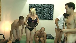 Big bottomed and busty blonde Alice Frost hooks up with bisexual dudes