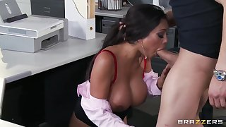 Exciting busty secretary Priya Anjali Rai seduces her chief's son Xander Corvus in the office