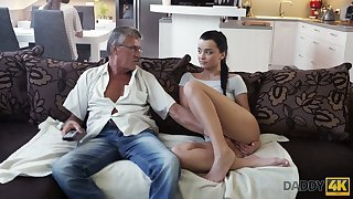 Age-old fart enjoys fucking cute stepdaughter's girlfriend Jessica