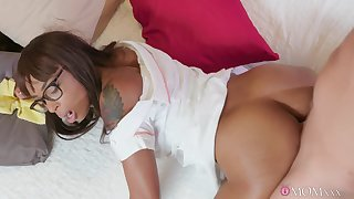 Ebony nerd in glasses gets their way first taste of a big white cock
