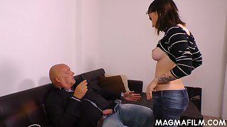 Kinky bald headed gay blade fucks naughty young brunette and cums on her face