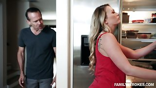 Dude fucks bootylicious stepdaughter Adira Allure in front of sleeping wife