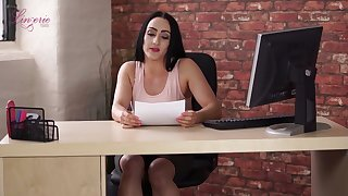 Naughty brunette Chloe Lovette climbs onto the table by way of working day