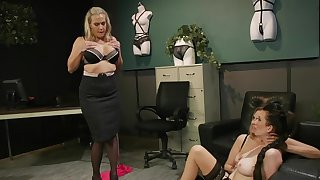 Premium matures in scenes of rough femdom at an obstacle office