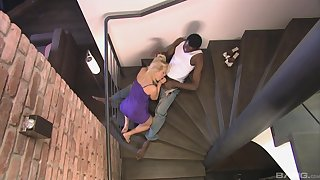 Katy Sweet deals the black monster essentially the stairs