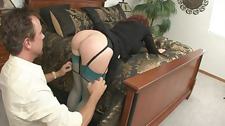 Redhead MILF sucks and rides big cock round amateur action