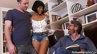 Stepson with an increment of stepdad fellow-feeling a amour gloomy chick Jenna Foxx with an increment of cum on her black tits