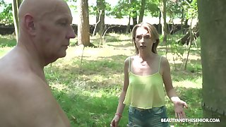 Dick crazy babe stops an old man from letting him cut the tree