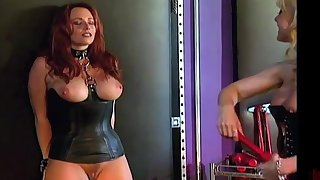 Curvy underling gets dominated by a professional MILF dominatrix Nina Hartley