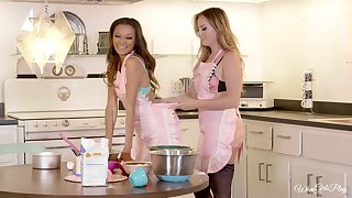 Kitchen is the unlimited place for lesbian sex - Britney together with Alex