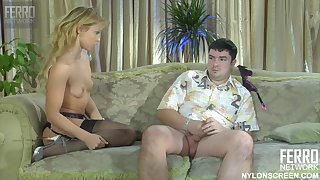 Naughty MILF and slow-witted beefy wanker