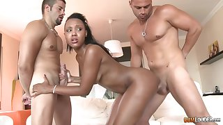 Perfidious babe, Noe Milk is fucking two guys within reach the same time, like a pro
