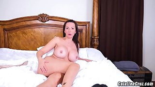 Catalina Cruz is making a new web cam show plus proudly showing her stupendous milk jugs