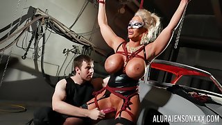Bound cock slut Alura Jenson is toyed round by a stranger in a dungeon