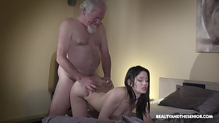 Old aged bearded gets woken up with sex with an increment of what a sexy mistress he's got