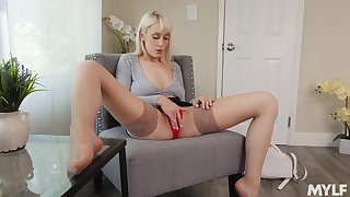 Hot and pretty fair-haired gal in beige nylon stockings Maxim Law teases yourselves