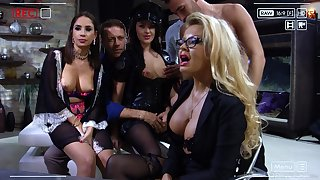 Slutty bitch Carolina Vogue is brutally hammered by two generously hung studs