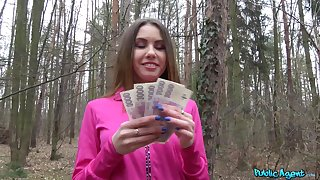 Hot ass Ella Salmon-coloured takes money to be fucked from behind in the forest