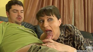 A mature woman gets a doze from a young guy
